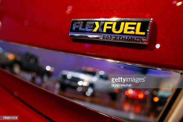 The back of the Chevy Impala LT Flex Fuel car is displayed during the press preview days at the North American International Auto show at Cobo Center...