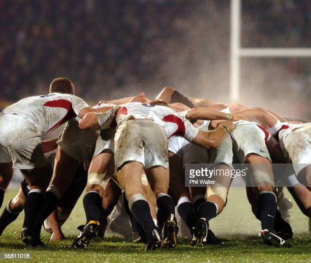 The back of the England scrum against the All Blacks in their rugby test match played at Carisbrook Stadium in Dunedin New Zealand Saturday June 12th...