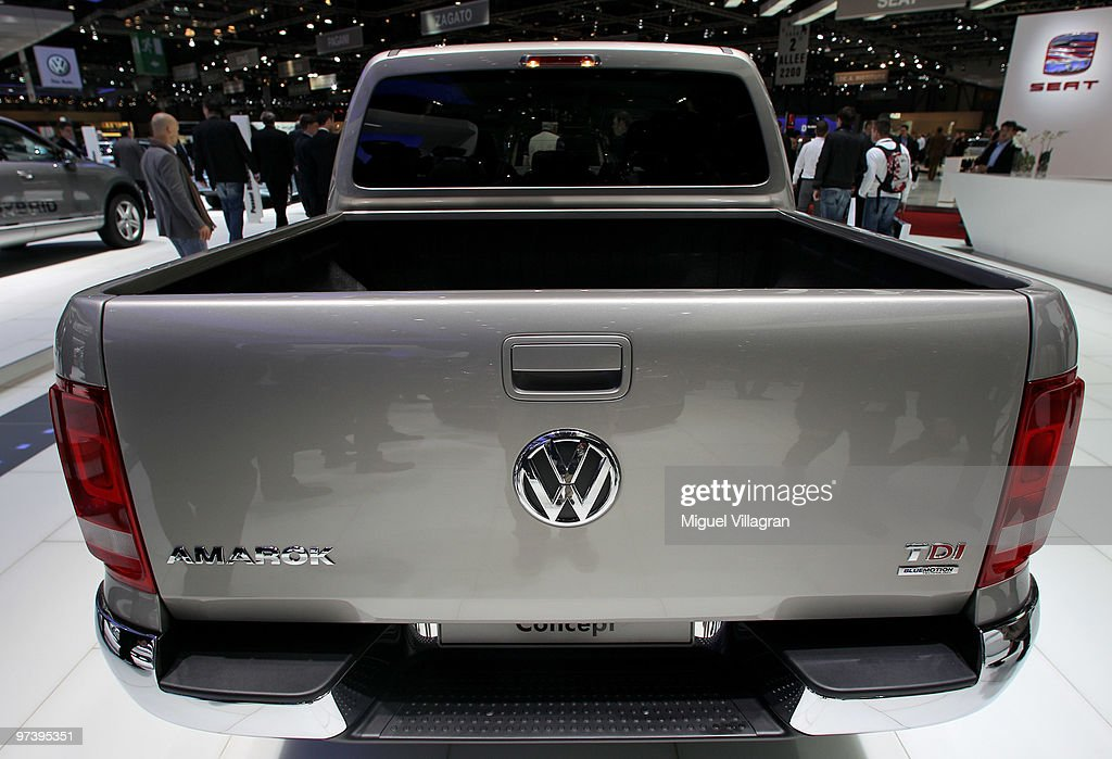 The back of the Volkswagen Amarok pick-up is pictured during the second press day at the 80th Geneva International Motor Show on March 3, 2010 in Geneva, Switzerland.The show features World and European premieres of cars, and will be open to the public from March 4th to the 14th.