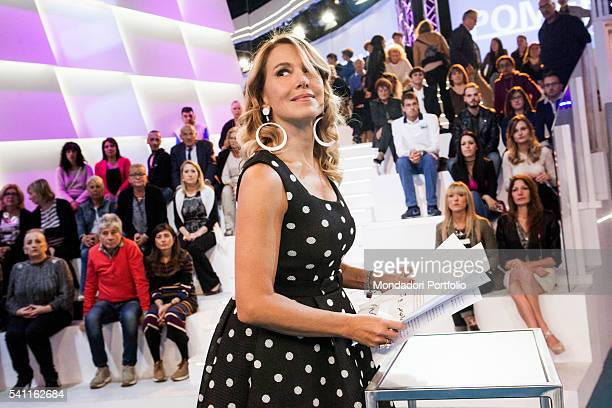Italian TV presenter Barbara D'Urso waiting for the live recording with the audience Photo shooting Cologno Monzese 19th October 2015