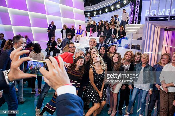 Italian TV presenter Barbara D'Urso being photographed with the audience during the advertising break Photo shooting Cologno Monzese 19th October 2015