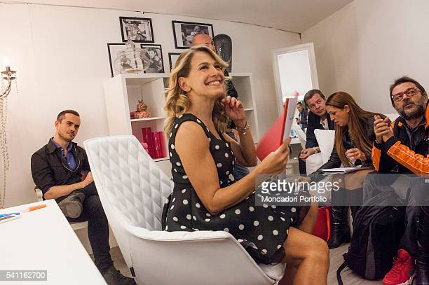 Italian TV presenter Barbara D'Urso sitting in the dressing room just after the live recording She's meeting journalists and authors to comment the...