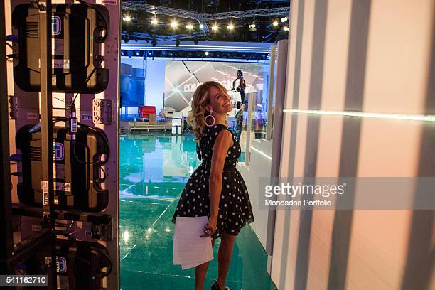 Italian TV presenter Barbara D'Urso coming into the studio 11 to discuss the show with the direction Photo shooting Cologno Monzese 19th October 2015