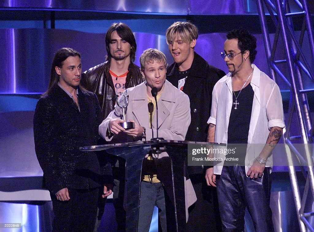 The Backstreet Boys accepting their award for Radio Slow Dance Song of the Year at the 2000 Radio Music Awards at the Aladdin Hotel in Las Vegas, Nevada, Saturday November 4, 2000.