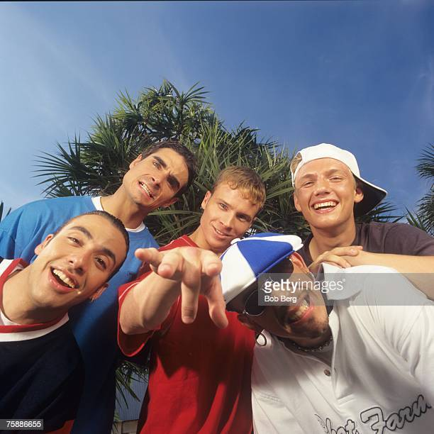 The Backstreet Boys Kevin Richardson Howie Dorough Brian Littrell AJ McLean and Nick Carter pose for an April 1997 portrait in Miami Beach Florida