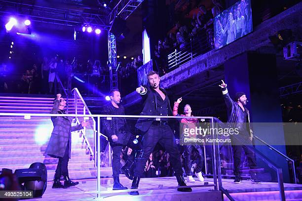 The Backstreet Boys perform onstage at the BALMAIN X HM Collection Launch at 23 Wall Street on October 20 2015 in New York City