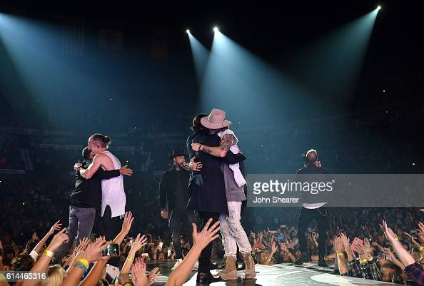 The Backstreet Boys perform with Florida Georgia Line on the 'Dig Your Roots' tour at Bridgestone Arena on October 13 2016 in Nashville Tennessee