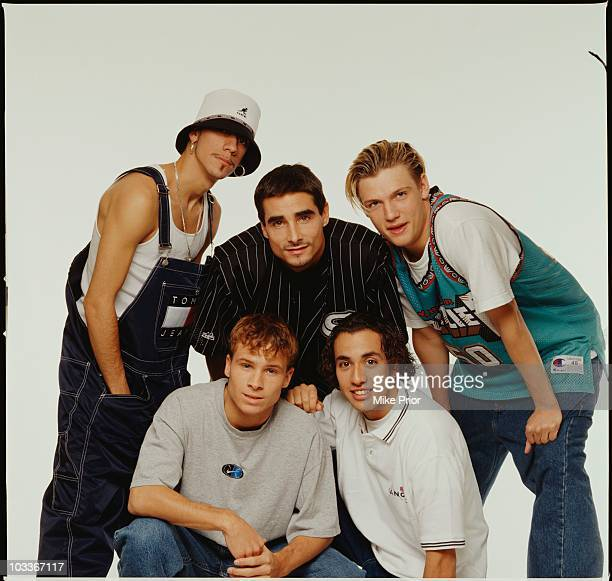 The Backstreet Boys pose for a group portrait in a London photographic studio in 1996 LR AJ McLean Kevin Richardson Nick Carter Brian Littrell and...