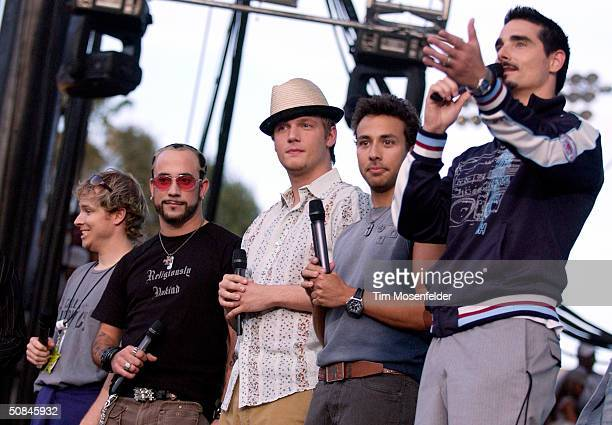 The Backstreet Boys reunite at KIIS FM's radio concert 'Wango Tango' at the Rose Bowl May 15 2004 in Pasadena California