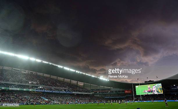 The bad weather rolls in during the round eight NRL match between the Sydney Roosters and the St George Illawarra Dragons at Allianz Stadium on April...