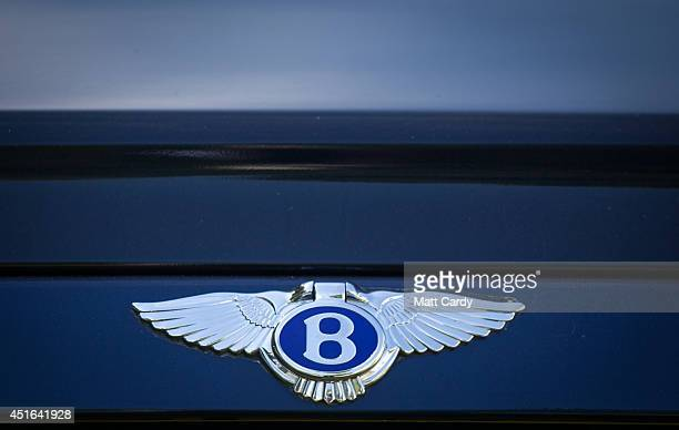 The badge of a Bentley is seen in the car park at the Henley Royal Regatta on July 3 2014 in HenleyonThames England Opening today and celebrating its...