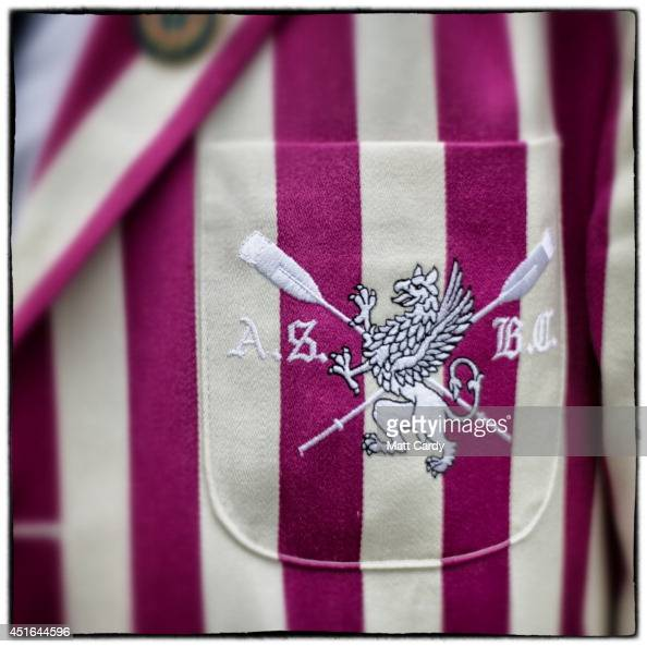 The badge of the Abdingdon Rowing Club is seen on a blazer on July 3 2014 in HenleyonThames England Opening yesterday and celebrating its 175th year...