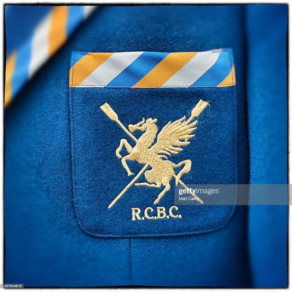The badge of the Robinson College Cambridge Rowing Club is seen on a blazer on July 3 2014 in HenleyonThames England Opening yesterday and...