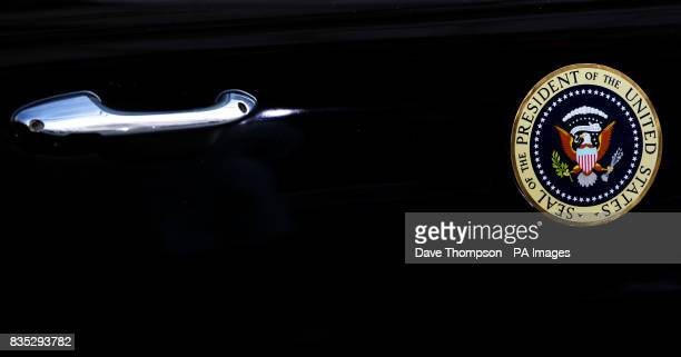 The badge on the side of the car which carries US President Barack Obama