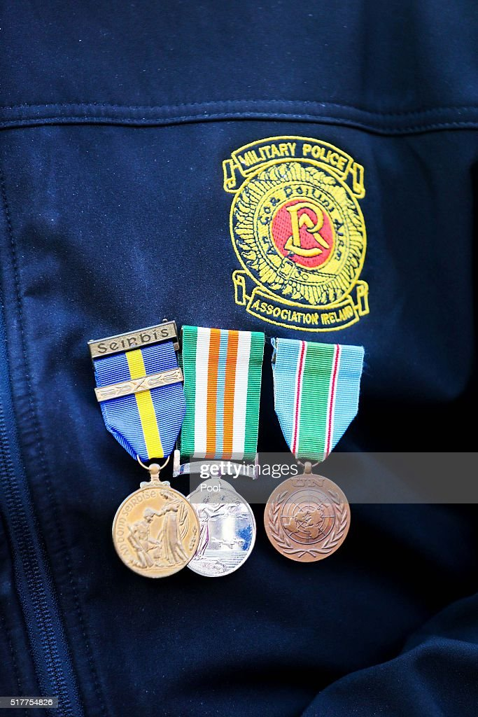 The badges of a member of the Military Police Association Ireland at the Easter Sunday Commemoration Ceremony at Dublin Castle on March 27 2016 in...