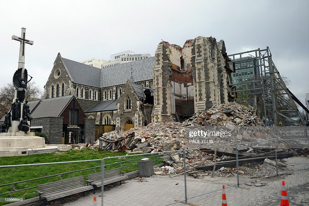 The badly damaged Christchurch Cathedral is pictured on September 7 2011 during a tour given to foreign journalists visiting the city ahead of the...