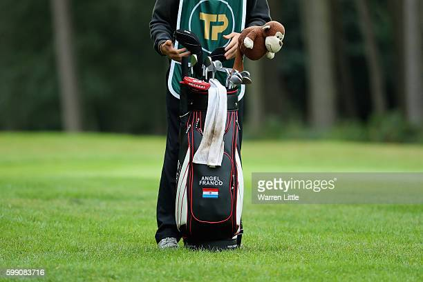 The bag of Angel Franco of Paraguay is pictured during the final round of the Travis Perkins Masters played on the Duke's Course at Woburn Golf Club...