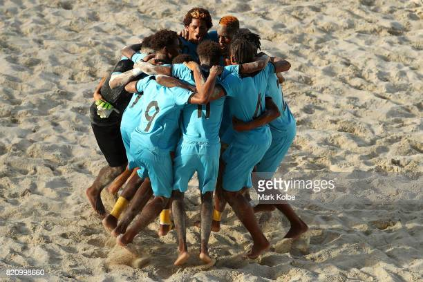 The Bahamas celebrate victory during the boy's beach soccer bronze medal final match between Antigua the Bahamas on day 5 of the 2017 Youth...