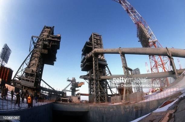 The Baikonur Cosmodrome launch ramp for the Soyuz rocket on March 16 in Baikonur Kazakhstan The Soyuz TM14 spacecraft left the Baikonur Cosmodrome in...