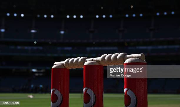 The bails and stumps are seen on day one of the Second Test match between Australia and Sri Lanka at Melbourne Cricket Ground on December 26 2012 in...