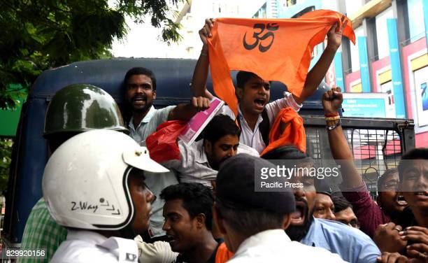 The Bajrang Dal had an agitation rally in front of Anandabazar Patrika publication house to protest against them for lowering the esteem of Hindus in...
