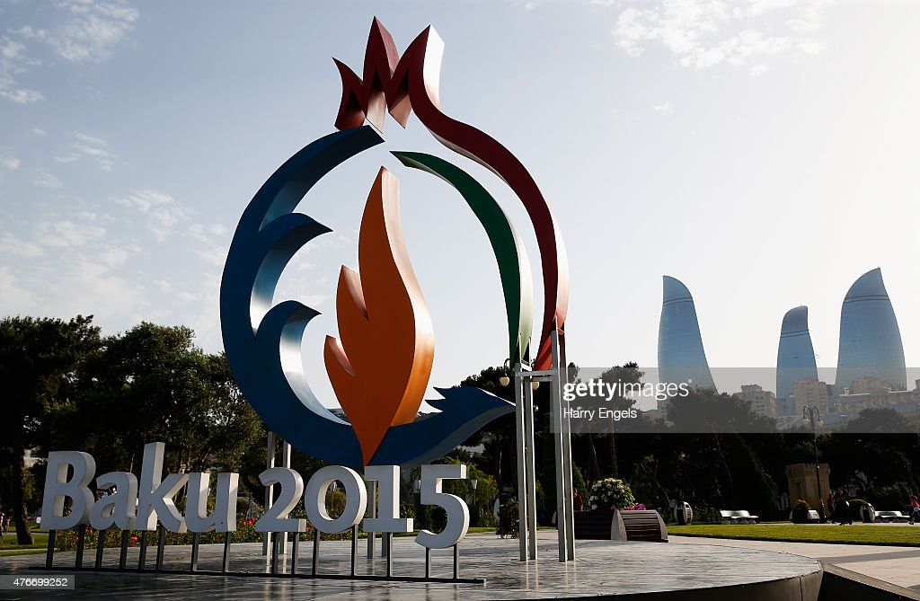 The Baku 2015 logo is seen with the Flame Towers in the background ahead of Baku 2015 the first European Games on June 11 2015 in Baku Azerbaijan