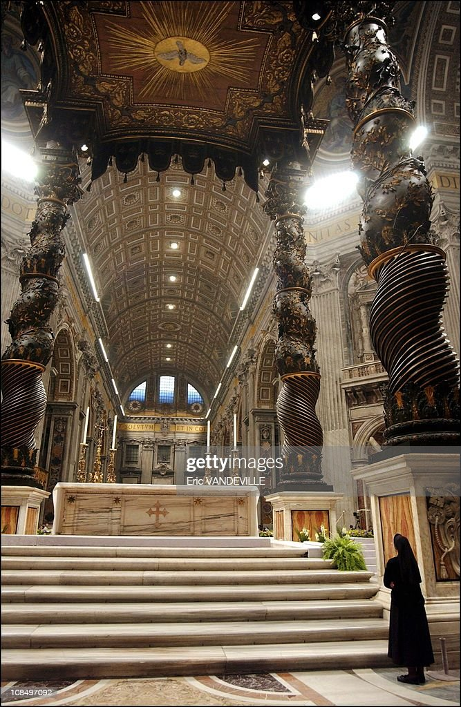 The baldaquin made by Bernini in the basilica in Rome, Vatican City on July 01, 2000.