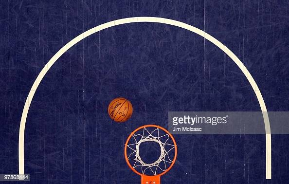 The ball and hoop are seen during a timeout between the New Jersey Nets and the Cleveland Cavaliers at the Izod Center on March 3 2010 in East...
