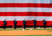 The ball and rosin bag sit on the mound the field before the game against the Toronto Blue Jays at Fenway Park on June 14 2015 in Boston Massachusetts