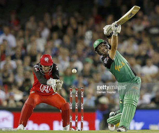 The ball beats both Peter Nevill of the Melbourne Renegades and Glenn Maxwell of the Melbourne Stars during the Big Bash League match between the...