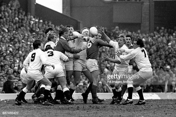 The ball bobbles loose at a line out watched by England's Nigel Melville Gary Pearce Dean Richards Wade Dooley Maurice Colclough Peter Winterbottom...