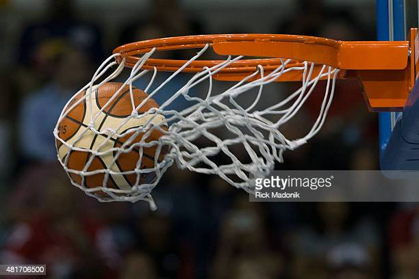 TORONTO JULY 23 2015 The ball falls through the hoop on a shot Men's basketball Preminlinary Round action between Canada and Mexico in 2nd half...
