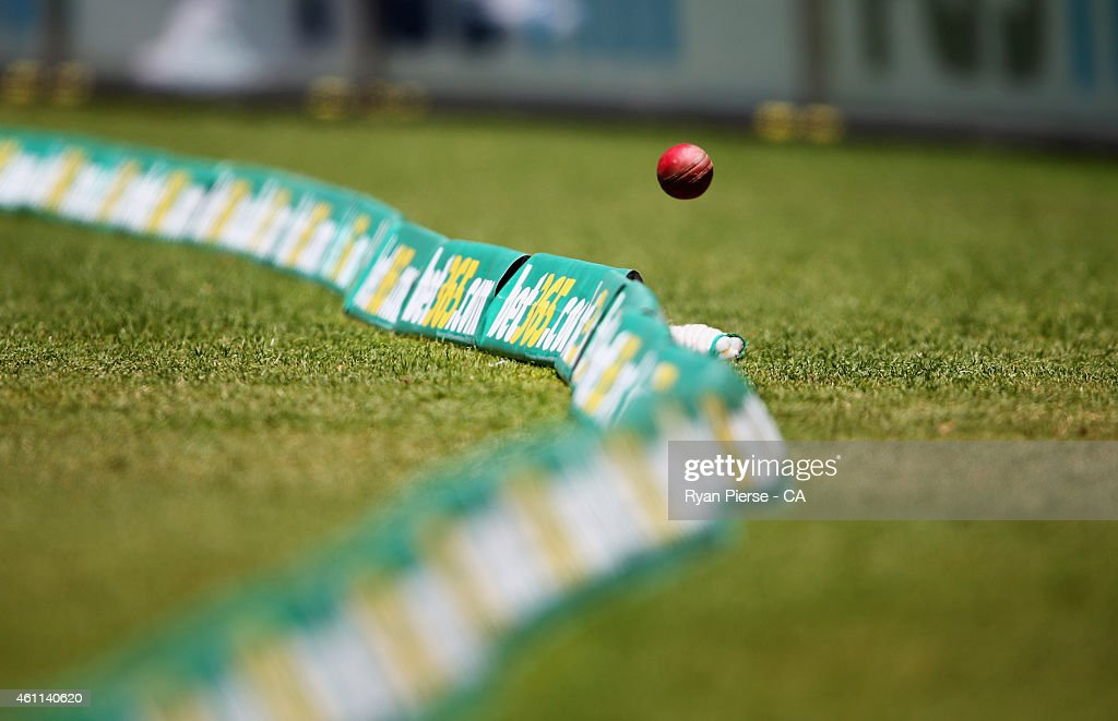 The ball goes over the rope for four runs during day three of the Fourth Test match between Australia and India at Sydney Cricket Ground on January 8...