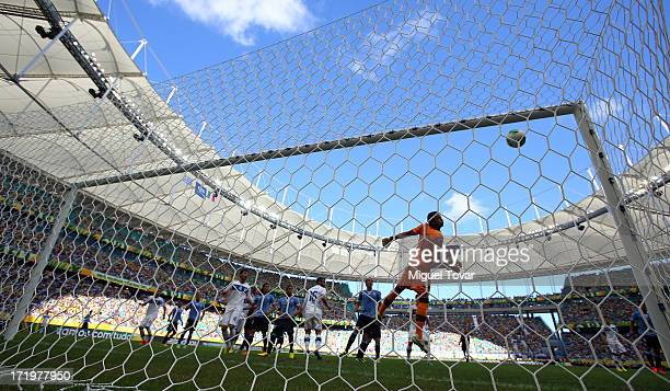The ball hits the post prior to the opening goal during the FIFA Confederations Cup Brazil 2013 3rd Place match between Uruguay and Italy at Estadio...