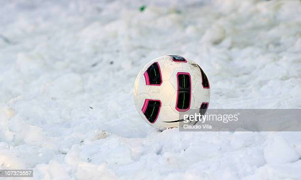The ball in the snow during the Serie B match between Varese and Reggina at Stadio Franco Ossola on December 4 2010 in Varese Italy