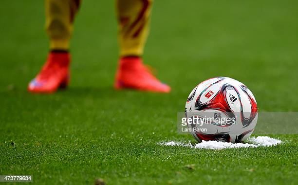 The ball is marked with vanashing spray for a free kick during the Bundesliga match between FC Schalke 04 and SC Paderborn at Veltins Arena on May 16...