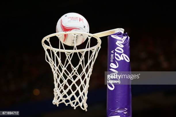 The ball is seen hitting the net during the round nine Super Netball match between the Giants and the Magpies at Qudos Bank Arena on April 23 2017 in...