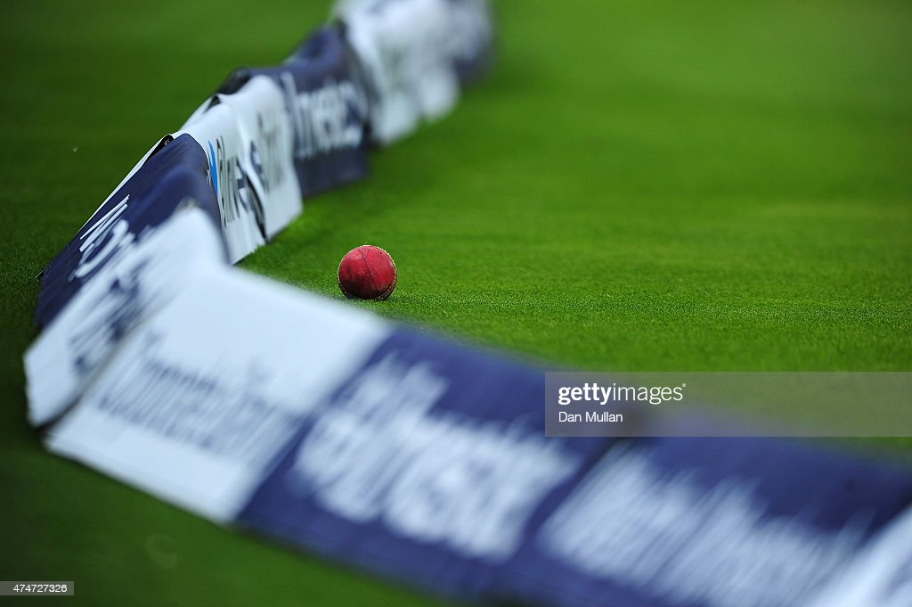 The ball lies at the boundary rope during day five of the 1st Investec Test Match between England and New Zealand at Lord's Cricket Ground on May 25...