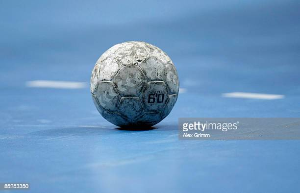 The ball lies on the pitch during a time out during the Toyota Handball Bundesliga match between Rhein Neckar Loewen and HSG Nordhorn at the SAP...