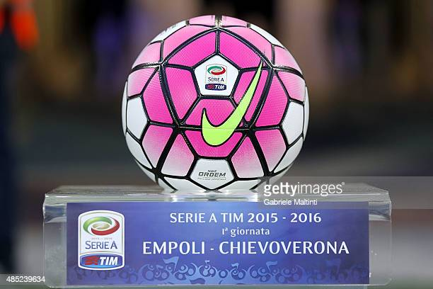 The ball Nike official Serie A 20152016 during the Serie A match between Empoli FC and AC Chievo Verona at Stadio Carlo Castellani on August 23 2015...