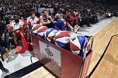 The ball rack during the Foot Locker Three Point Contest on State Farm AllStar Saturday Night as part of the 2015 NBA AllStar Weekend on February 14...