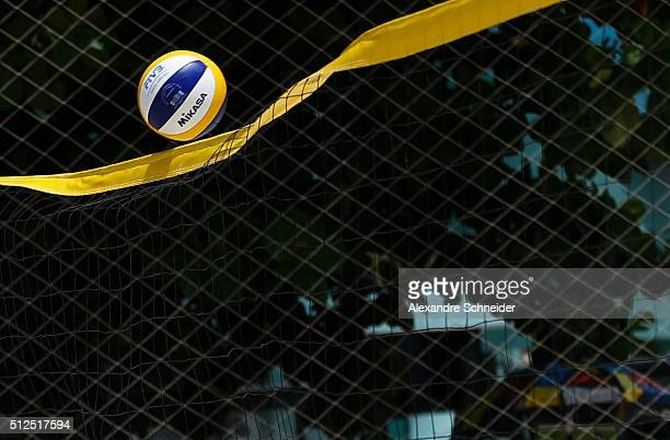 The ball walks on the net during the main draw match between Austria and Canada at Pajucara beach during day four of the FIVB Beach Volleyball World...