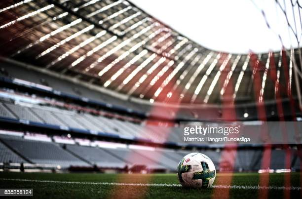 The ball with the Bundesliga logo seen prior to the Bundesliga match between FC Bayern Muenchen and Bayer 04 Leverkusen at Allianz Arena on August 18...