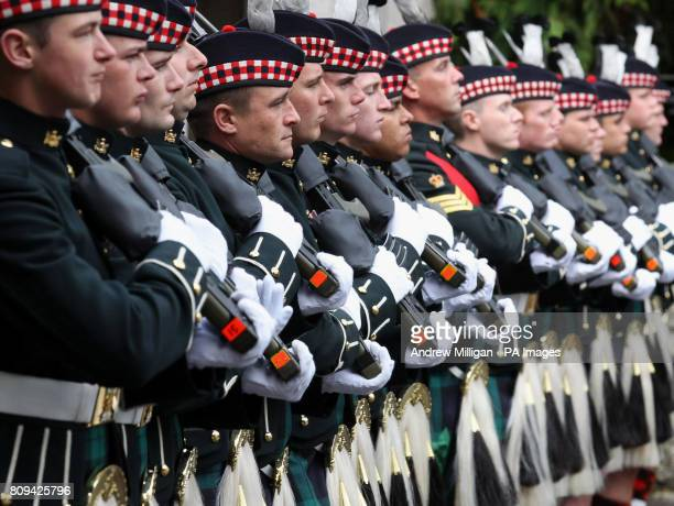The Ballater Guard made up of soldiers from the Argyll and Sutherland Highlanders 5th Battalion The Royal Regiment of Scotland as Britain's Queen...