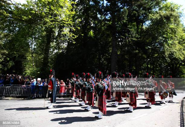 The Ballater Guard made up of soldiers from the Argyll and Sutherland HighlandersThe Royal Regiment of Scotland at the gates to Balmoral as Queen...