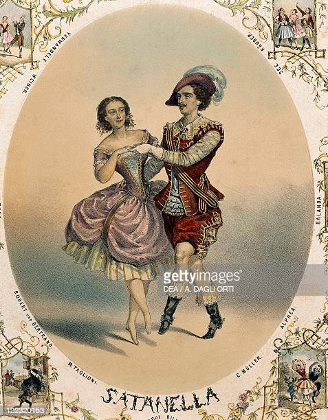 The ballet dancers Marie Taglioni and Charles Muller performing La Satanella color engraving