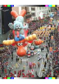The balloon of the cartoon characters Rocket J Squirrel and Bullwinkle the moose floats down Broadway in New York followed by marching bands and...