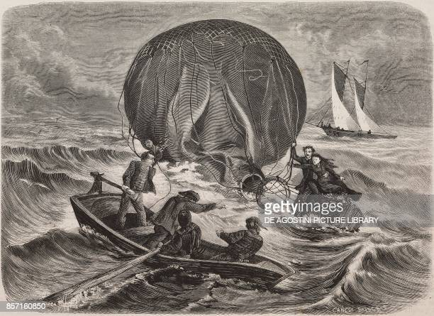 The balloonist Claude Jules Dufour and his wife saved by fishermen illustration from Nuova illustrazione Universale Year 1 Vol II No 46 September 20...