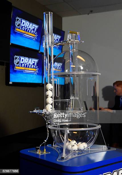 The balls for the fist overall pick are selected during the The National Hockey League Draft Lottery at the CBC Studios in Toronto Ontario Canada on...