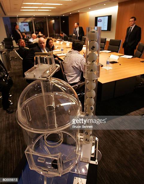 The balls in the lottery machine just prior to the 2008 NHL Draft Drawing on April 7 2008 at the National Hockey League headquarters in New York City